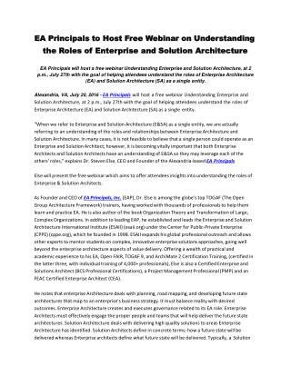 EA Principals to Host Free Webinar on Understanding the Roles of Enterprise and Solution Architecture