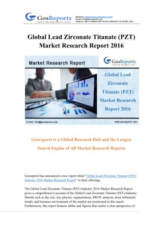 Global Lead Zirconate Titanate (PZT) Market Research Report 2016
