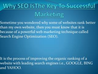 The Key To Successful Marketing Is SEO