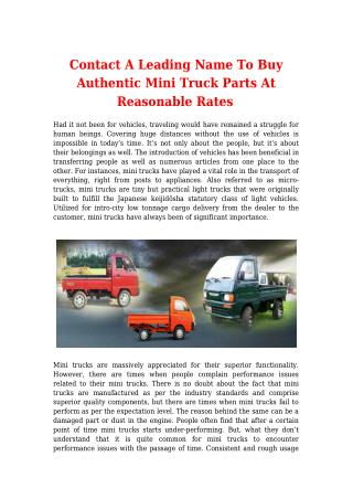 Contact A Leading Name To Buy Authentic Mini Truck Parts At Reasonable Rates