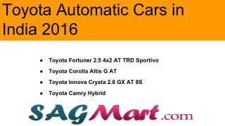 Find the List of Toyota Automatic Cars in India