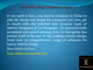 Top Interior Design Companies in Dubai