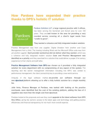 How Pardoes have expanded their practice thanks to DPS's holistic IT solution