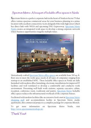 Spectrum Metro- A bouquet of lockable office spaces in Noida