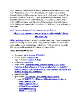 Vidyo Animate Review-$32,400 bonus & discount