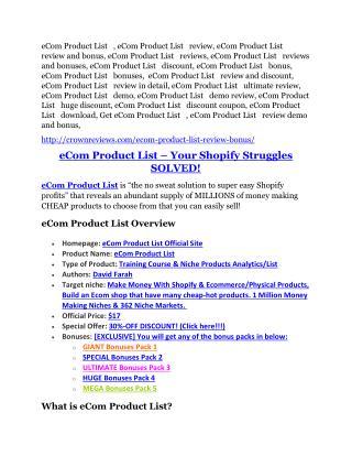 eCom Product List review & SECRETS bonus of eCom Product List