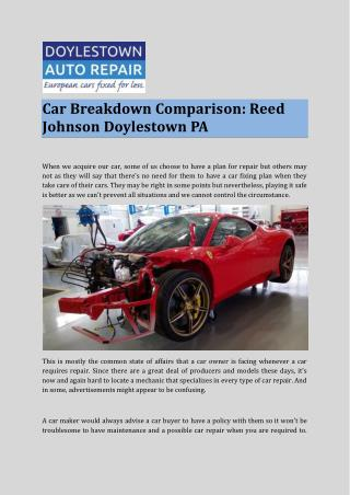 Car Breakdown Comparison: Reed Johnson Doylestown PA
