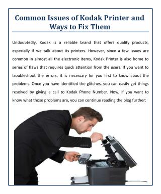 Common Issues of Kodak Printer and Ways to Fix Them