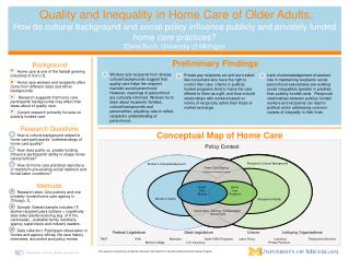 Quality and Inequality in Home Care of Older Adults: How do cultural background and social policy influence publicly and
