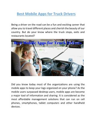 Best Mobile Apps for Truck Drivers