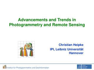 Advancements and Trends in Photogrammetry and Remote Sensing
