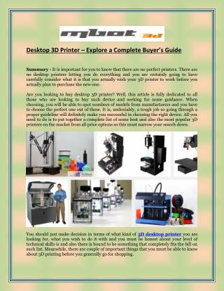 Desktop 3D Printer � Explore a Complete Buyer�s Guide