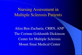 Nursing Assessment in Multiple Sclerosis Patients