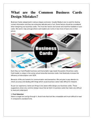 WHAT ARE THE COMMON BUSINESS CARDS DESIGN MISTAKES?