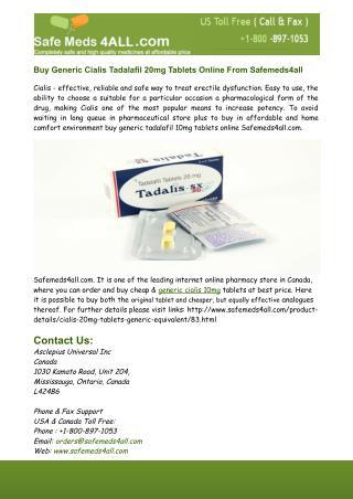 Buy Generic Tadalafil Cialis 20mg Tablets Online