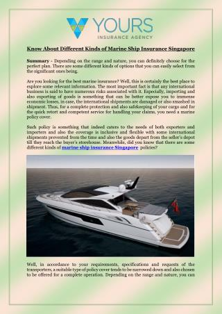 Know About Different Kinds of Marine Ship Insurance Singapore