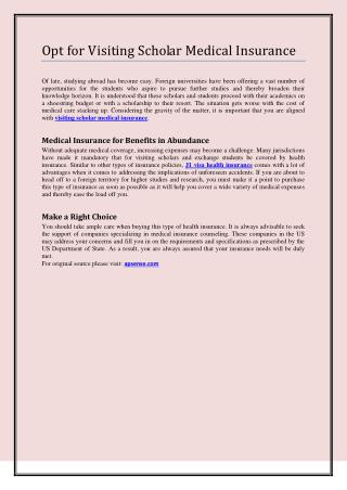 Opt for Visiting Scholar Medical Insurance