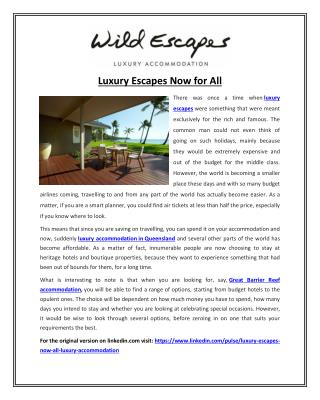 Luxury Escapes Now For All
