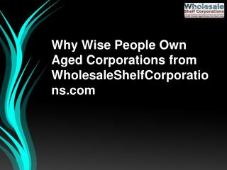 Why Wise People Own Aged Corporations from WholesaleShelfCorporations.com