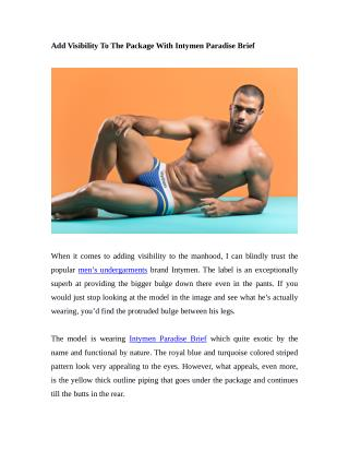 Add Visibility To The Package With Intymen Paradise Brief