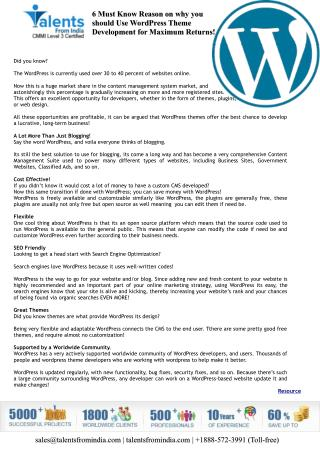 6 Must Know Reason on why you should Use WordPress Theme Development for Maximum Returns!