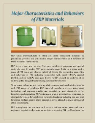 Major Characteristics and Behaviors of FRP Materials