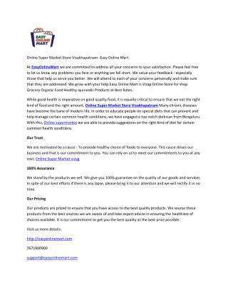 Online Super Market Store Visakhapatnam -Easy Online Mart