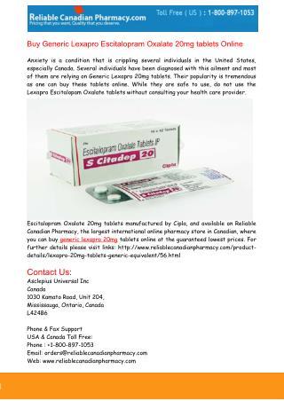 Buy Generic Lexapro Escitalopram 20mg Tablets Online