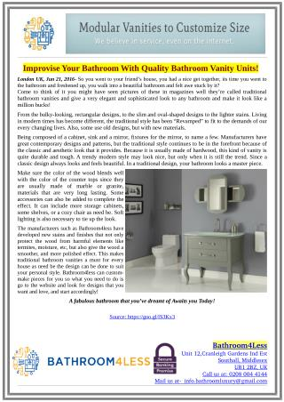 Improvise Your Bathroom With Quality Bathroom Vanity Units!