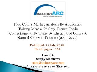 Food Colors Market driven by growing consumption of the visually enticing food pigment.