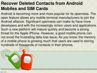 Recover Deleted Contacts from Android Mobiles and SIM Cards
