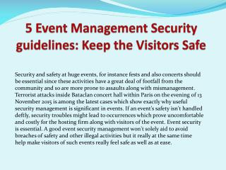 5 Event Management Security guidelines: Keep the Visitors Safe