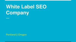 White Label SEO Company in Portland