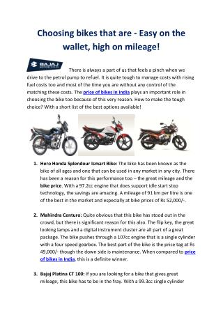 Choosing bikes that are - Easy on the wallet, high on mileage!