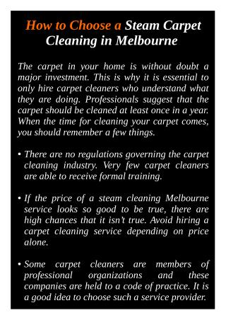 How to Choose a Steam Carpet Cleaning in Melbourne