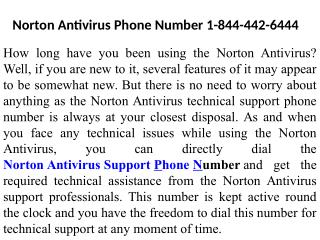 1-844-442-6444 Norton Technical Support Phone Number