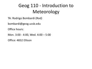 Geog 110 - Introduction to Meteorology