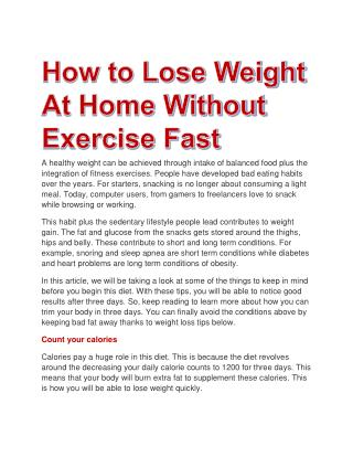 How to Lose Weight At Home Without Exercise Fast