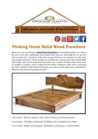 Picking Great Solid Wood Furniture