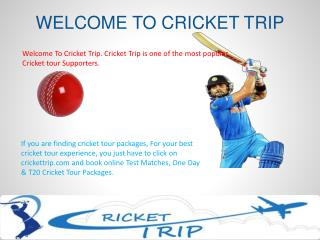 Book Cricket Tour Packages With Crickettrip.com