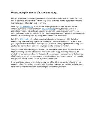 Understanding the Benefits of B2C Telemarketing