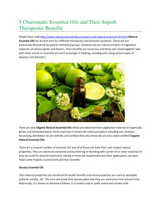 5 Charismatic Essential Oils and Their Superb Therapeutic Benefits