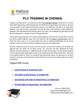 PLC Training In Chennai | Progyaan