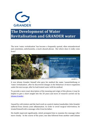 The Development of Water Revitalisation and GRANDER water