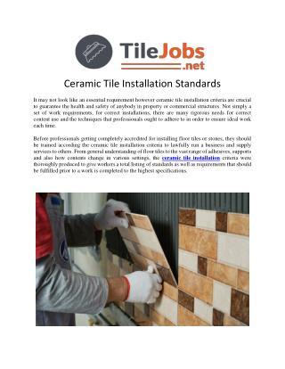 Ceramic Wall Tile Installation
