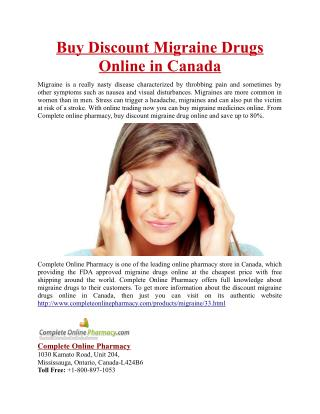 Buy Discount Migraine Drugs Online in Canada