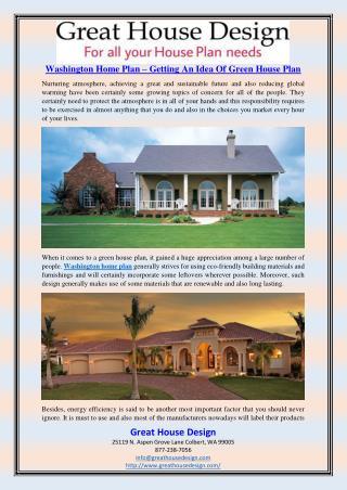Washington Home Plan – Getting An Idea Of Green House Plan