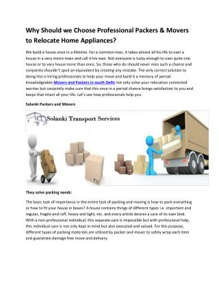 Why Should we Choose Professional Packers & Movers to Relocate Home Appliances?