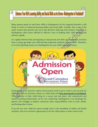 Enhance Your Kid's Learning Ability and Social Skills as he Grows –Kindergarten in Faridabad!!