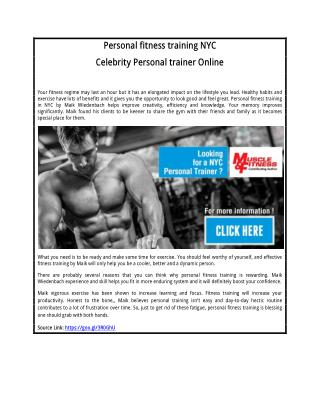 Celebrity Personal trainer Online